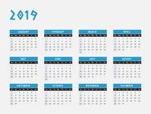 Projeto horizontal do calendário de 2019 anos Fotos de Stock