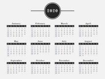 Projeto horizontal do calendário de 2020 anos Fotos de Stock Royalty Free