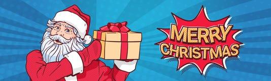 Projeto horizontal do cartaz da etiqueta de Art Comic Background Merry Christmas do PNF de Santa Claus Hold Gift Box Over Foto de Stock Royalty Free