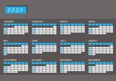 Projeto horizontal escuro do calendário 2020 do ano ilustração do vetor