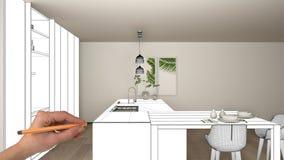 Projeto inacabado, sob o esboço da construção, esboço do design de interiores do conceito, mão que aponta a cozinha branca modern imagens de stock royalty free