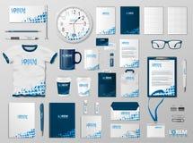 Projeto incorporado do molde da identidade de marcagem com ferro quente Cor moderna do azul do modelo dos artigos de papelaria Ar ilustração do vetor