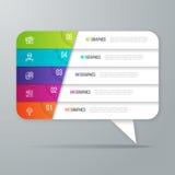 Projeto infographic dado forma bolha do discurso negócio de 5 opções Foto de Stock