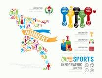 Projeto Infographic do molde dos esportes ilustração do vetor do conceito ilustração do vetor