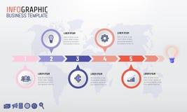 Projeto infographic do molde do espaço temporal na moda da empresa da cor com 5 opções Ilustração do vetor ilustração stock