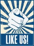 Projeto inspirador do cartaz com a mão que aponta em Fotos de Stock Royalty Free