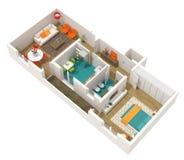 Projeto interior contemporâneo - 3d dirigem o projeto Imagem de Stock