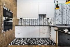 Projeto interior da cozinha moderna imagem de stock