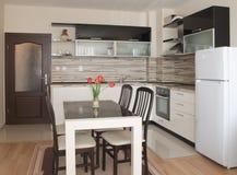 Projeto interior da cozinha moderna Fotos de Stock Royalty Free