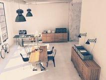 Projeto interior da sala de visitas moderna rendição 3d Imagem de Stock