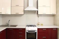 Projeto interior de cozinha doméstica Fotografia de Stock Royalty Free