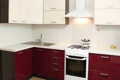 Projeto interior de cozinha doméstica Fotografia de Stock
