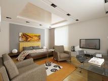 Projeto interior moderno (o apartamento 3d do privat rende Imagem de Stock Royalty Free