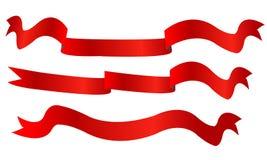 Projeto isolado bandeiras da ilustração do vetor das fitas de Rred ilustração stock