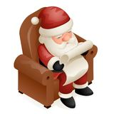 Projeto isométrico bonito dos desenhos animados de Santa Claus Grandfather Frost New Year do Natal 3d de Sit Armchair Read Gift L Fotos de Stock