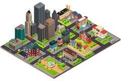 Projeto isométrico de ruas e de construções da cidade Fotos de Stock