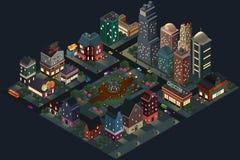 Projeto isométrico de ruas e de construções da cidade na noite Imagem de Stock