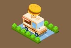 Projeto isométrico do café 3d da entrega do caminhão do fast food ilustração stock