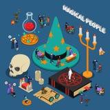 Projeto isométrico dos povos mágicos ilustração royalty free