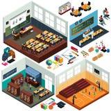 Projeto isométrico dos prédios da escola e das salas de aula Imagem de Stock Royalty Free
