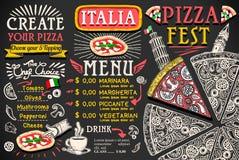 Projeto italiano do vetor do alimento do menu da pizza Imagens de Stock