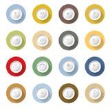 Projeto liso ajustado ícones da ilustração do vetor de Media Player Imagens de Stock