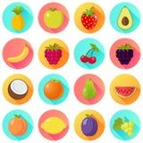 Projeto liso ajustado do ícone do fruto dos frutos Imagens de Stock
