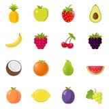 Projeto liso ajustado do ícone do fruto dos frutos Fotografia de Stock Royalty Free