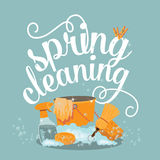 Projeto liso alegre Spring Cleaning Foto de Stock Royalty Free