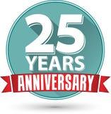 Projeto liso 25 anos de etiqueta com fita vermelha, vetor do aniversário Fotografia de Stock Royalty Free
