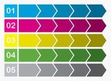 Projeto liso Caixas das setas do processo Grupo passo a passo Cinco etapas Imagens de Stock
