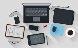 Projeto liso criativo do computador de escritório do espaço de trabalho Ilustração Royalty Free