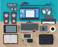 Projeto liso criativo do computador de escritório do espaço de trabalho Ilustração do Vetor