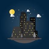 Projeto liso da arquitetura da cidade na noite ilustração do vetor