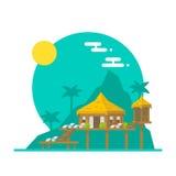 Projeto liso da casa de campo da praia ilustração royalty free