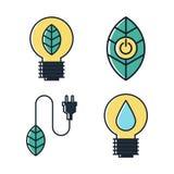 Projeto liso da ecologia e do ícone verde da energia Imagem de Stock Royalty Free