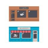 Projeto liso da fachada dianteira da loja ilustração do vetor