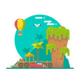 Projeto liso da ilha de Tapu em Phang Nga, Tailândia ilustração do vetor