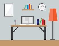 Projeto liso da ilustração do espaço de trabalho do vetor Imagens de Stock Royalty Free