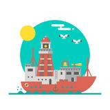 Projeto liso da navigação do barco-farol ilustração royalty free