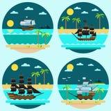 Projeto liso da navigação dos navios de pirata ilustração royalty free