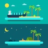 Projeto liso da praia do paraíso do verão ilustração royalty free