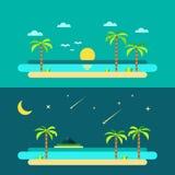 Projeto liso da praia do paraíso do verão ilustração stock