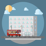 Projeto liso da rua da arquitetura da cidade ilustração royalty free