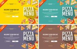 Projeto liso da site do conceito do menu da pizza do estilo Imagem de Stock