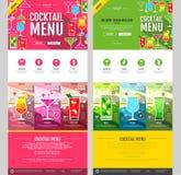Projeto liso da site do conceito do menu do cocktail do estilo Fotos de Stock Royalty Free