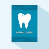 Projeto liso da tampa do folheto com ícone dental da clínica ilustração royalty free