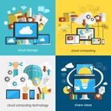Projeto liso da tecnologia da nuvem Imagens de Stock