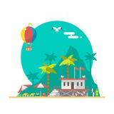 Projeto liso da torre de protetor da praia em uma praia ilustração royalty free
