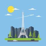Projeto liso da torre Eiffel ilustração royalty free